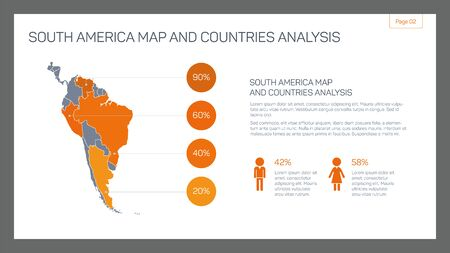 sample text: Editable infographic template of South America map and countries analysis with percent marks, population statistics and sample text