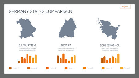 sample text: Editable infographic template of presentation slide with Germany states comparison, bar charts and sample text