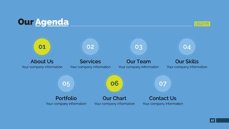 agenda: Editable template of presentation slide representing company agenda Illustration