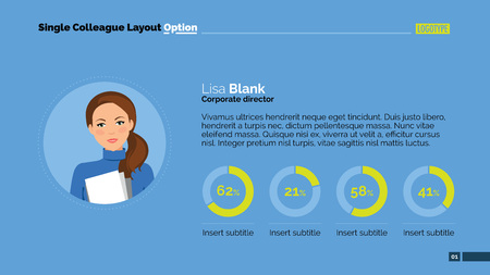colleague: Editable template of presentation slide representing Single colleague layout with woman portrait and pie charts
