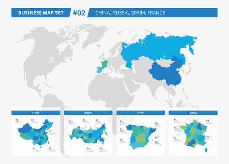 kingdom of spain: Set of editable detailed maps of China, Russia, Spain, France and counties silhouettes on world map