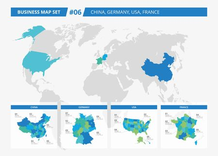 prc: Set of editable detailed maps of China, Germany, USA, France and counties silhouettes on world map