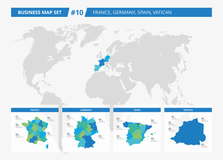 Set of editable detailed maps of france germany spain portugal set of editable detailed maps of france germany spain vatican and counties silhouettes sciox Images