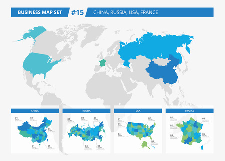 counties: Set of editable detailed maps of China, Russia, USA, France and counties silhouettes on world map