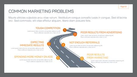 in common: Editable template of presentation slide representing common marketing problems concept Illustration