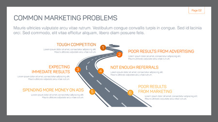 Editable template of presentation slide representing common marketing problems concept Illustration