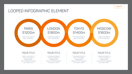 looped: Editable template of presentation slide representing looped infographic element Illustration