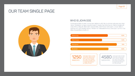 colleague: Editable template of presentation slide representing single colleague layout with businessman portrait and bar chart