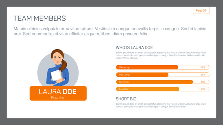 biography: Editable template of presentation slide representing single team member layout with businesswoman portrait and bar chart