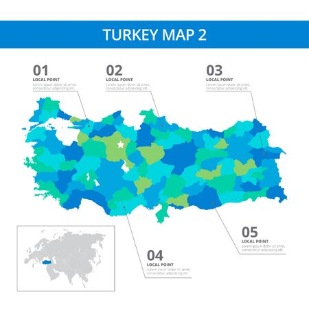Editable template of detailed map of Turkey with information marks and country silhouette on world map, isolated on white