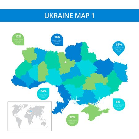 ukraine: Editable template of detailed map of Ukraine with percent marks and country silhouette on world map, isolated on white