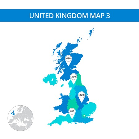 regions: Editable template of detailed map of United Kingdom with map pointers and country silhouette on world map, isolated on white