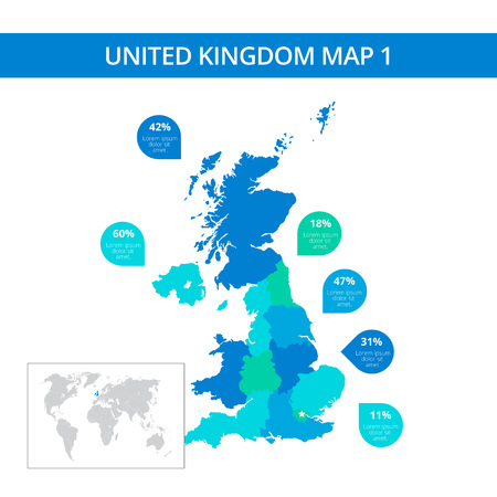 Editable template of detailed map of United Kingdom with percent marks and country silhouette on world map, isolated on white Illusztráció