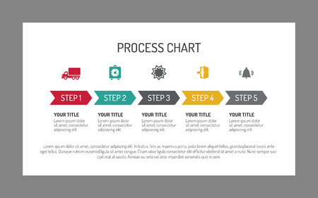 process chart: Editable infographic template of horizontal five step process chart with arrows and icons, white background