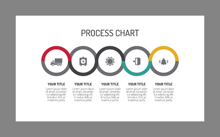 Editable template of horizontal five step process chart consisting of circles with icons, gray background with frame