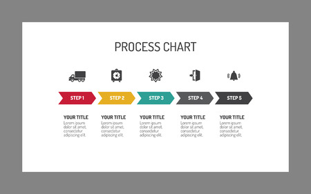 Editable infographic template of five step process chart with icons and arrows