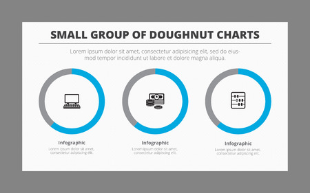 subtitles: Infographic template of doughnut charts. Group consists of three doughnuts with icons, titles and subtitles, two-colored version