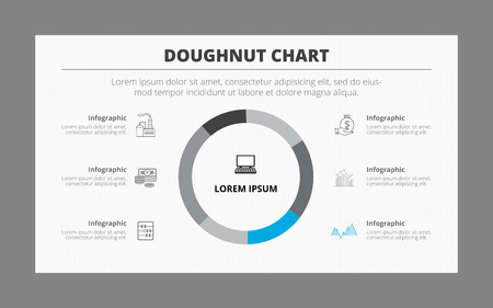 도넛 차트 인포 그래픽 템플릿은 여섯 부분으로 나누어. 모든 부분의 아이콘, 제목과 설명이 있습니다. 두 컬러 버전