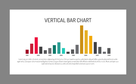 nineteen: Editable template of large vertical bar chart with nineteen columns presenting data changes from year to year, multicolored version Illustration