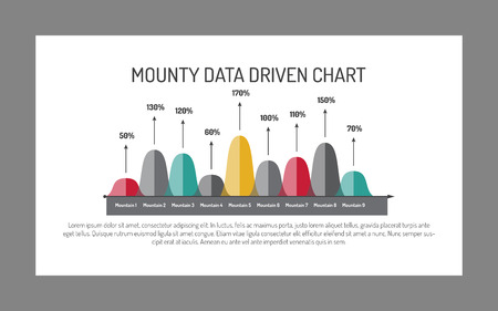 numbering: Editable template of mounty data chart including nine mountains with rounded tops and percent marks, multicolored version Illustration