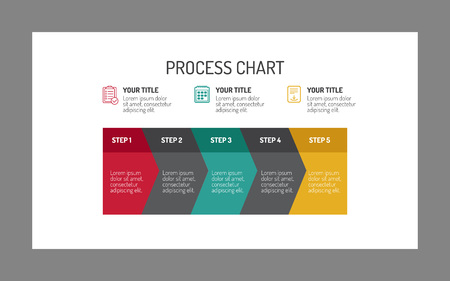 Five-step process chart template, multicolored, isolated on white