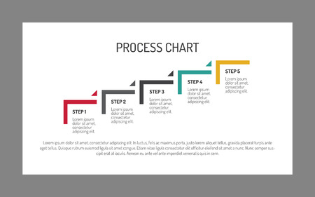 Editable infographic of five step process chart in form of ascending stairs, white background Illustration