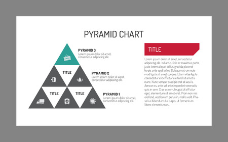 smaller: Editable template of pyramid chart consisting of nine smaller inner pyramids with icons in them