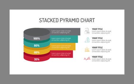 multicoloured: Editable template of stacked pyramid chart including four elements with percent marks and notes, multicoloured Illustration