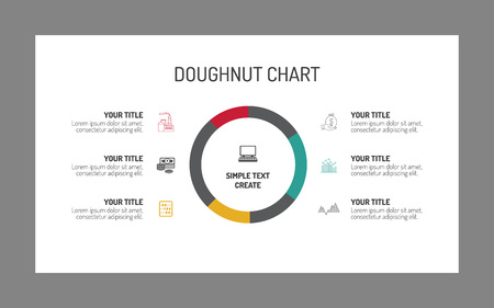 Editable infographic template of stacked bar chart multicolored editable template of single doughnut chart consisting of six segments with sample text vector ccuart Image collections