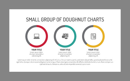 correlation: Editable infographic template of small group of doughnut charts