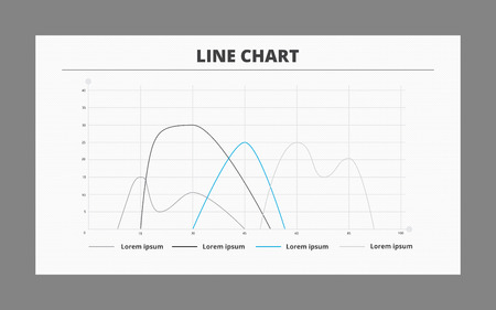 smoothed: Editable template of smoothed line chart including four curves, horizontal and vertical axes and sample text, two-colored version Illustration