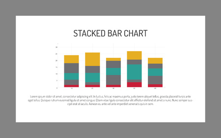 correlation: Editable infographic template of stacked bar chart, multicolored, sample text
