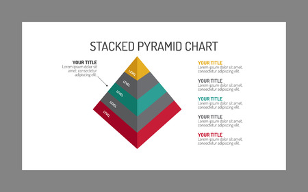 Editable template of stacked pyramid chart with sample text, five levels, 3d