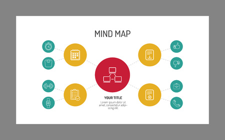 the mind: Simple mind map template with different icons at every level explaining the central idea, multicolored version