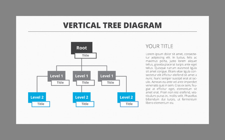 main idea: Editable template of vertical tree diagram including root and two levels with titles, two-colored version