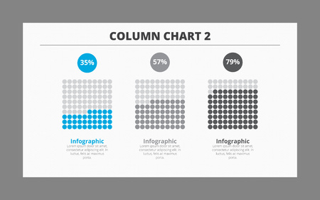 per cent: Editable infographic template of column chart including three cubes and per cent marks, two-colored version