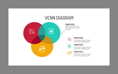 Editable template of three section Venn diagram, multicolored on white background, gray frame