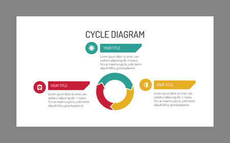 three: Editable template of three-piece cycle diagram with icons and sample text