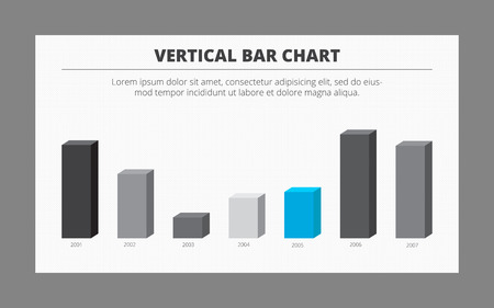 vertical bar: Editable template of vertical bar chart with seven columns presenting data changes from year to year, two-colored version