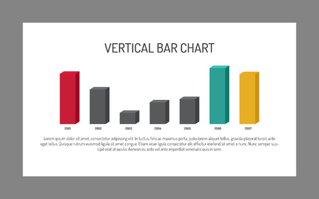 vertical bar: Editable template of vertical bar chart, seven bars representing annual statistics, white background, gray frame