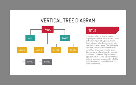 tree diagram: Multicolored editable template of vertical tree diagram with root, three levels and sample text Vectores
