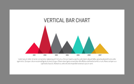 vertical bar: Editable template of vertical bar chart showing dynamics from year to year. Template includes seven triangles of different colours