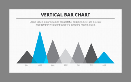 vertical bar: Editable template of vertical bar chart with seven triangle bars presenting data changes from year to year, two-colored version