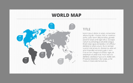 Editable world map template with number captions for each part 51164227 editable template of world map with percent marks isolated on gray with gray frame gumiabroncs Choice Image