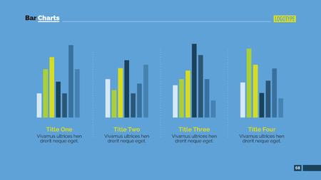 grafica de barras: plantilla editable de la presentación de diapositivas que representa cuatro grupos de gráficos de barras verticales con títulos y descripciones Vectores
