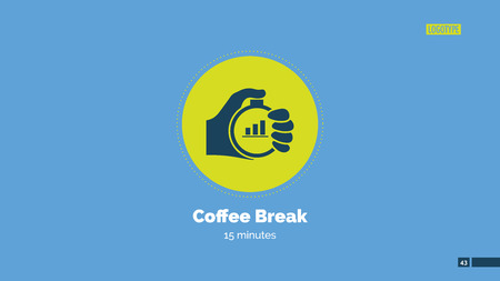 announcing: Presentation slide announcing fifteen-minute coffee break, with hand holding stopwatch Illustration