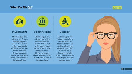 Editable template of powerpoint presentation slide representing company activities with female character portrait Ilustração Vetorial