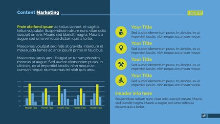 Bewerkbare presentatie dia die marketinganalyse met bar chart Vector Illustratie