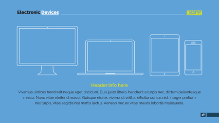 electronic background: Editable template showing outlines of different electronic devices, blue background Illustration