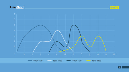 line chart: Editable template of powerpoint presentation slide representing line chart with four curves Illustration